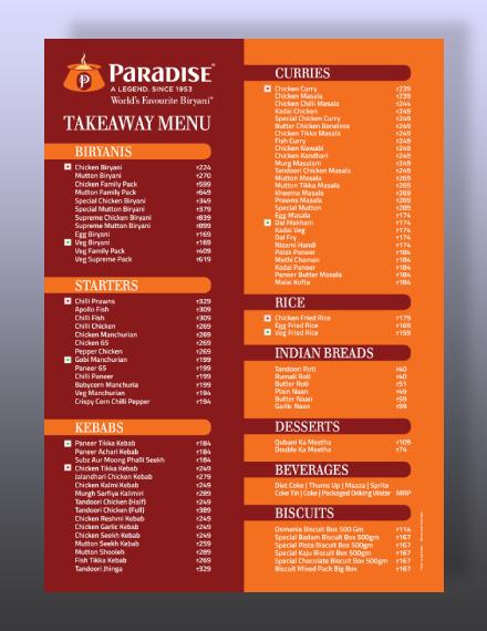 paradise food court card