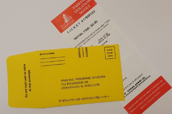 parking ticket and envelope