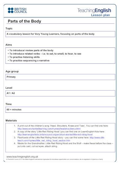 parts of the body kindergarten lesson plan