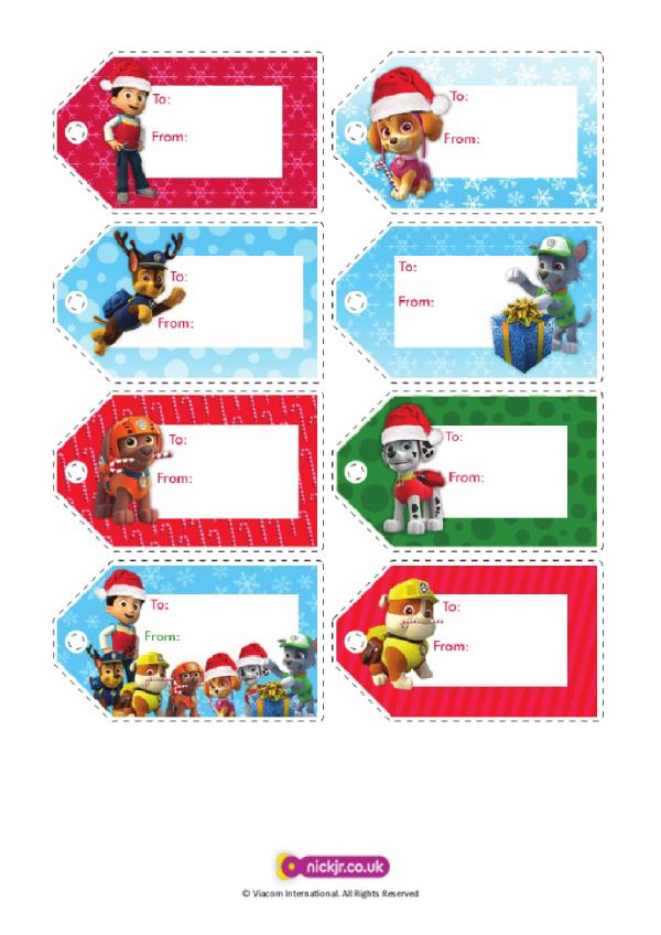 paw patrol holiday gift tag