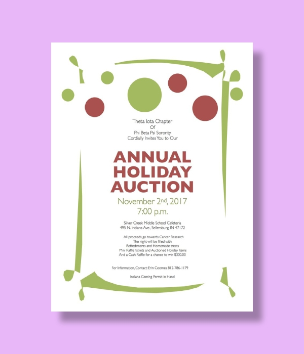 phi beta psi sorority annual holiday auction invitation