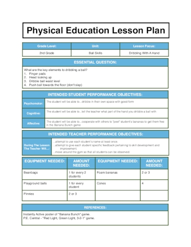 physical education lesson plan2