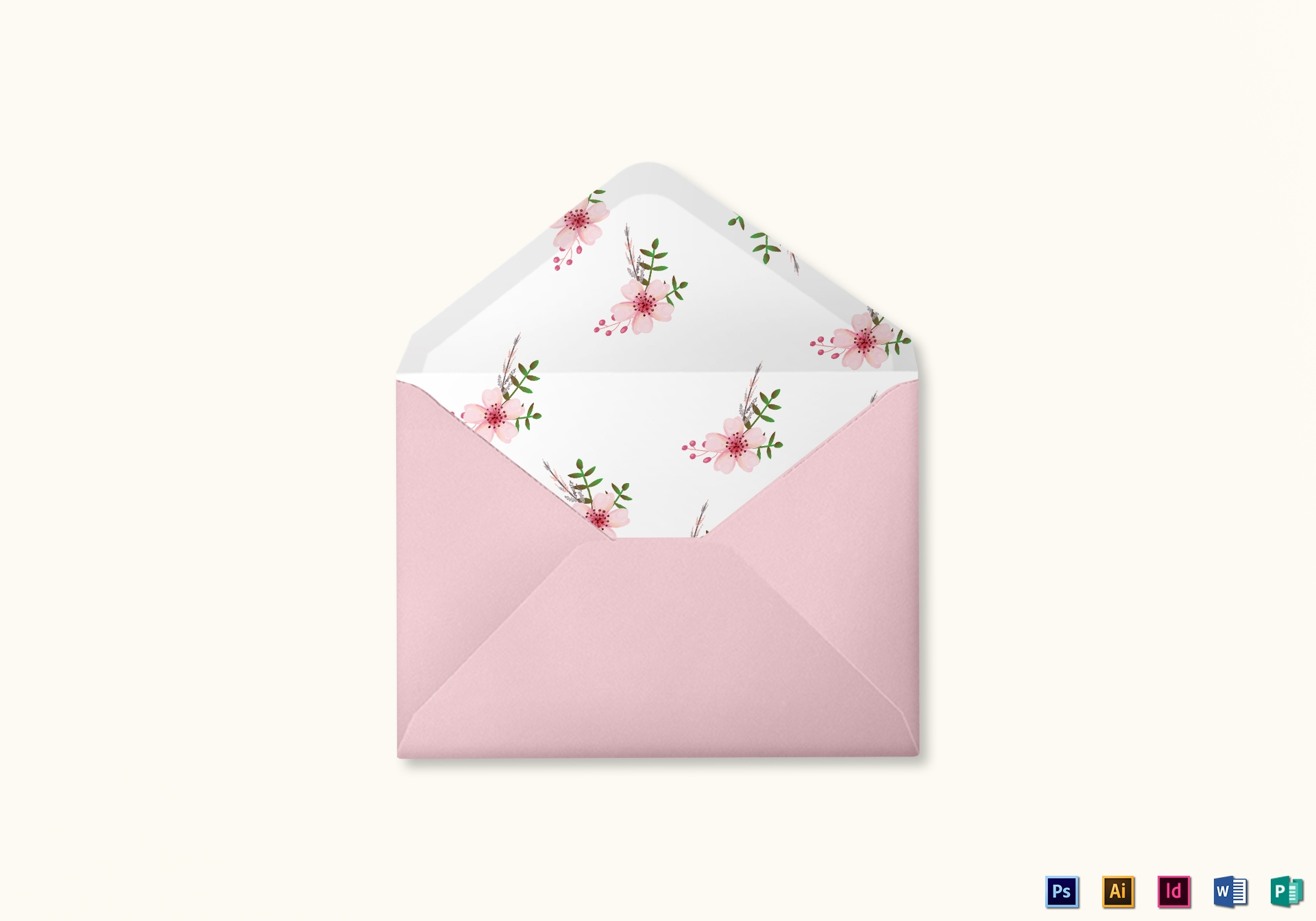 pink floral wedding envelope card template