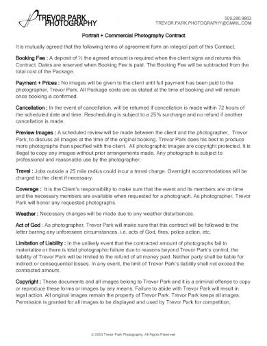 portrait commercial photography contract