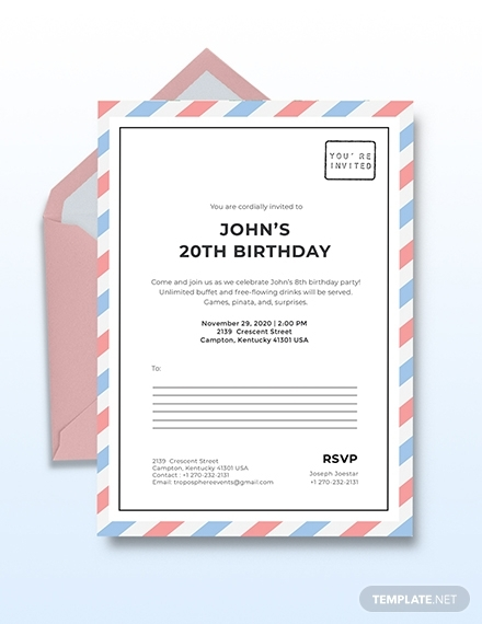 postcard birthday invitation