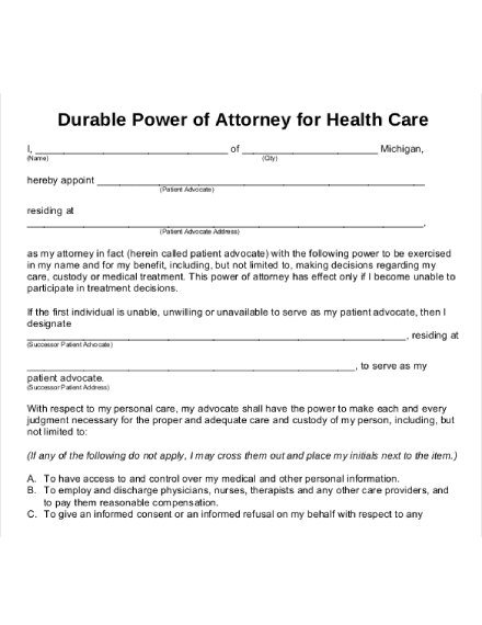 power of attorney letter for healthcare