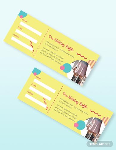 pre holiday raffle ticket