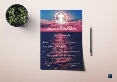 premium baptism certificate