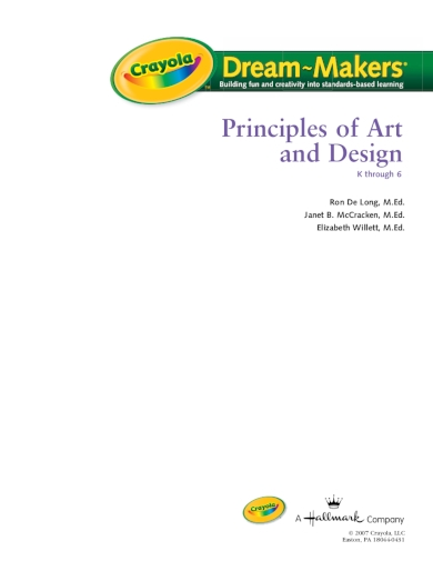 principles of art and design kindergarten lesson