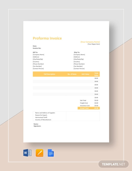 Free 10 Proforma Invoice Examples Samples In Google Docs Google Sheets Excel Doc Numbers Pages Pdf Examples