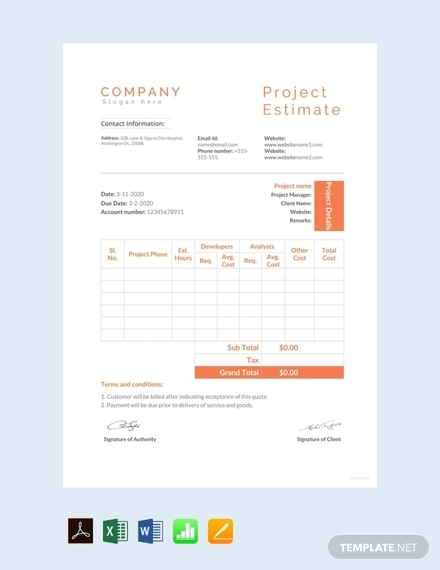 project estimate sheet