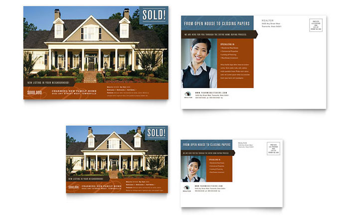 real estate ads postcard template