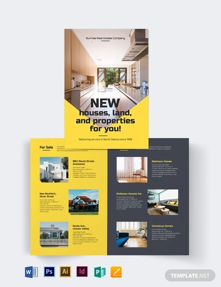 real estate company bi fold brochure template