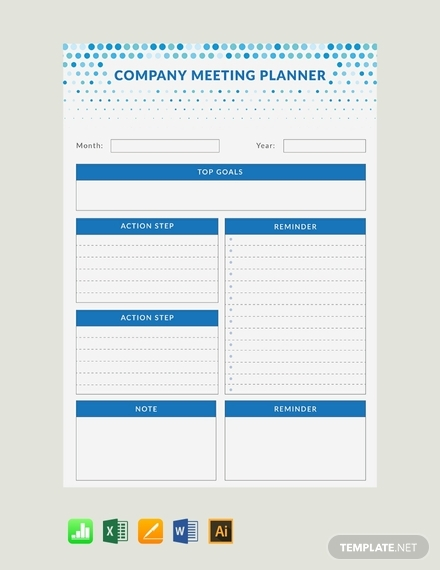 real estate meeting planner template