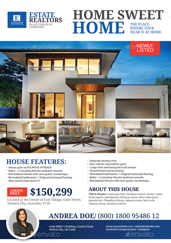 real estate modern house listing flyer