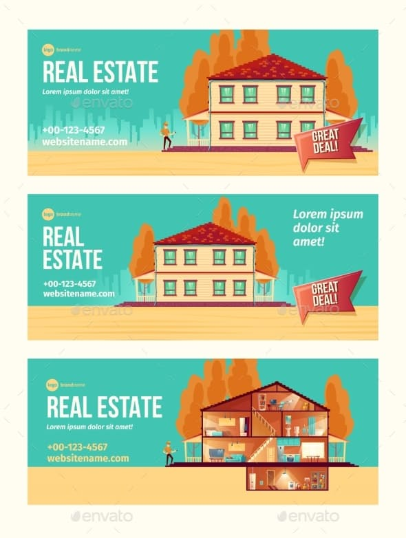 real estate object cartoon vector ad banner