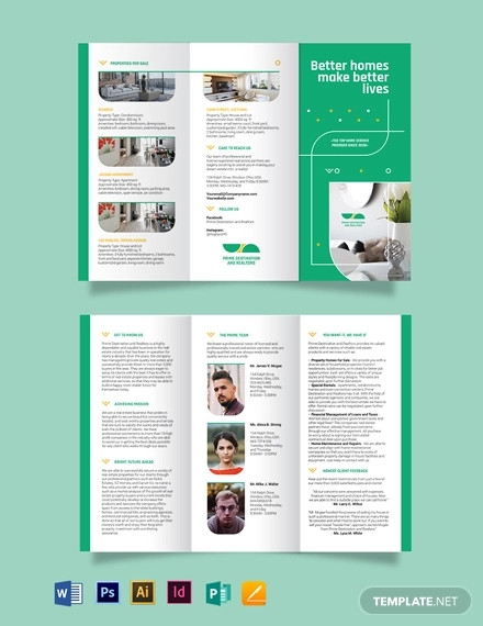 real estate partners tri fold brochure template