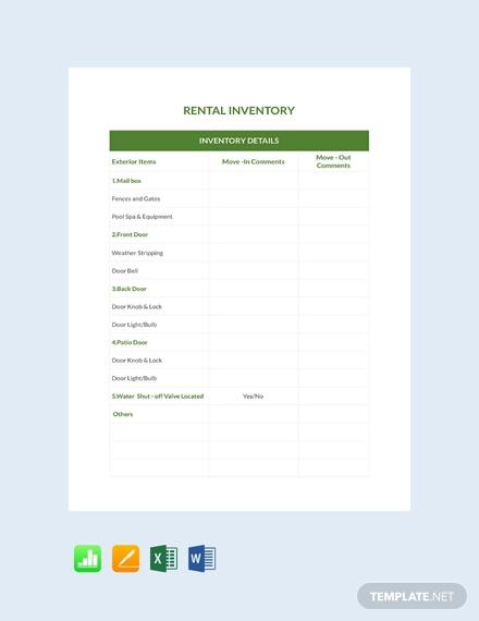 rental inventory form