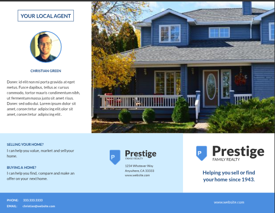 residential real estate listing brochure template