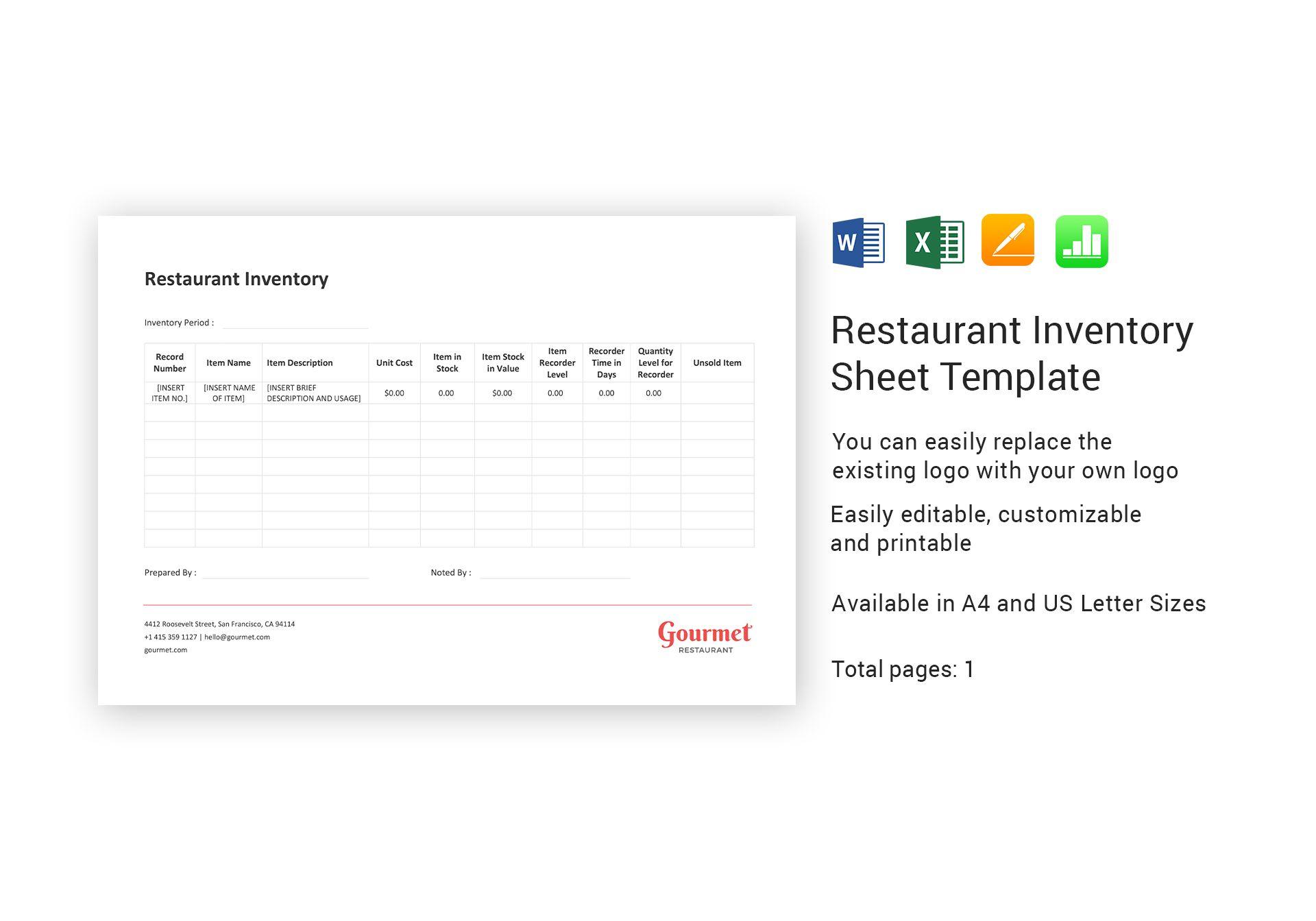 restaurant inventory sheet template