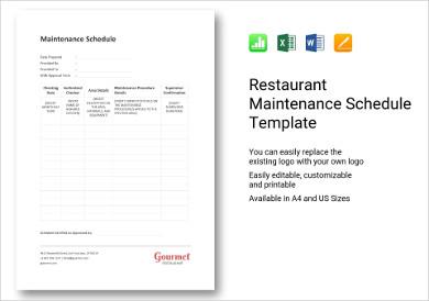 restaurant maintenance schedule template