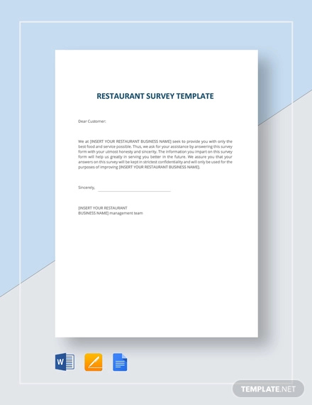 Restaurant Survey Example Template