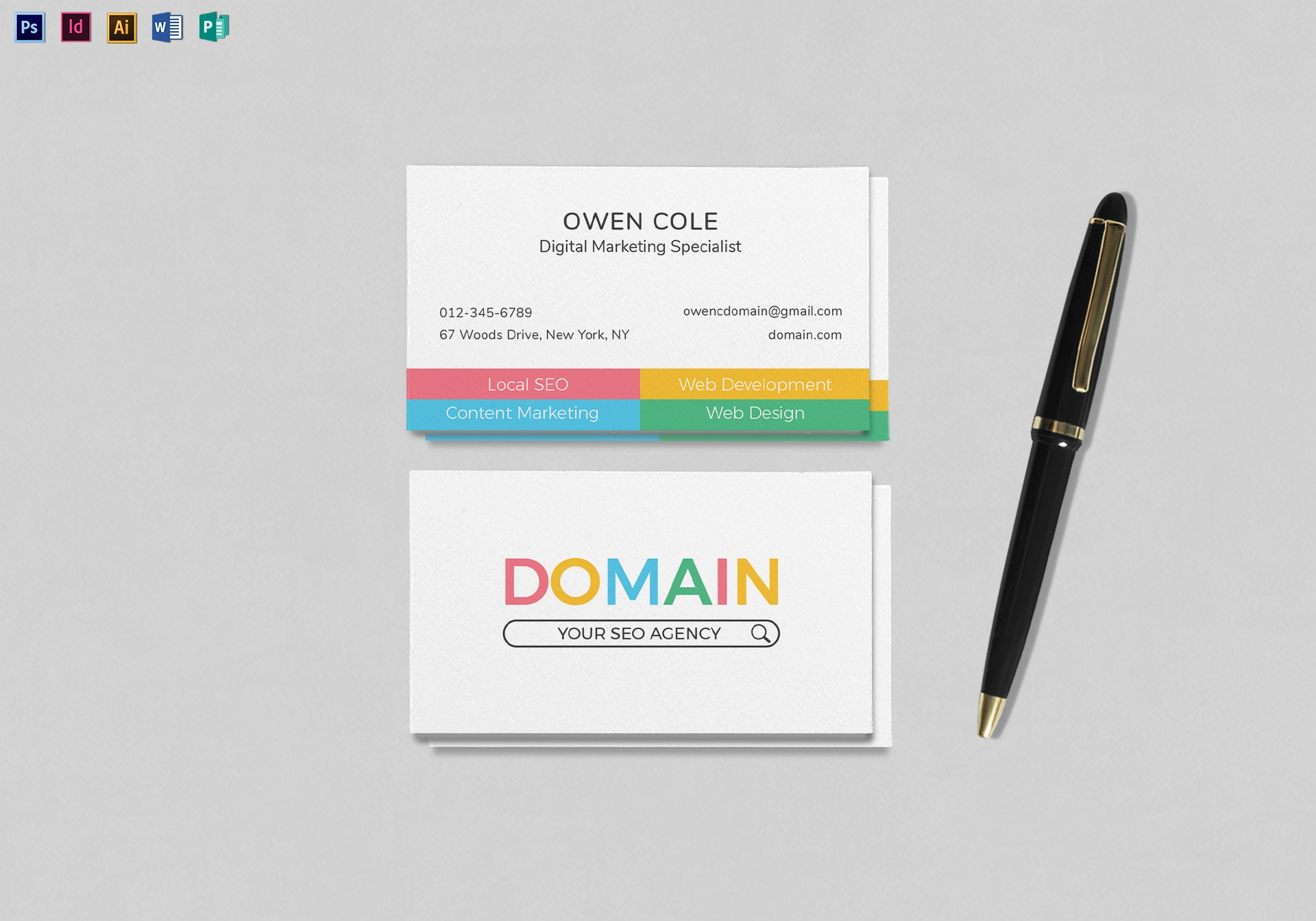 seo business card mock up