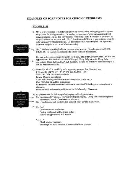 soap note for chronic problems