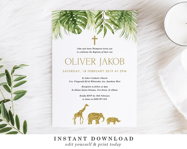 safari baptism invitation