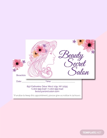 salon appointment card