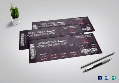 sample concert ticket