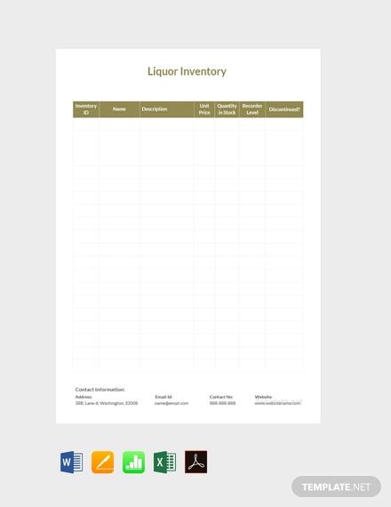 sample liquor inventory