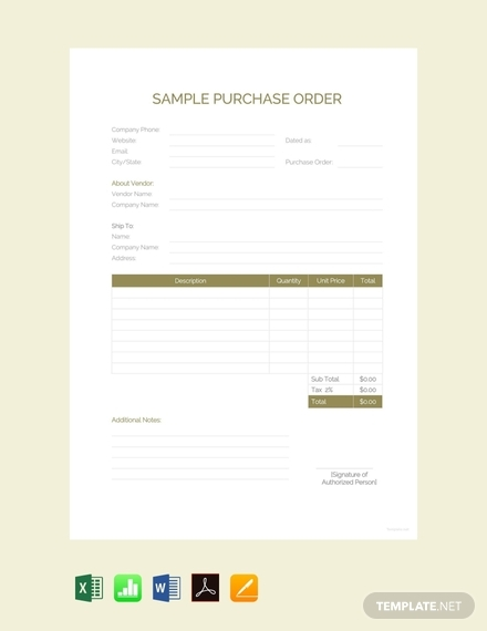 sample purchase order