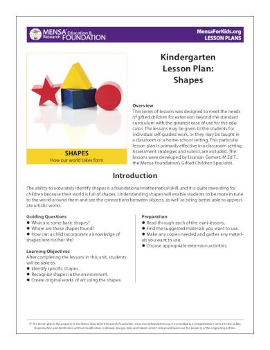 shapes kindergarten lesson plan