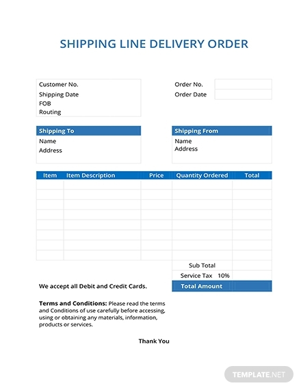 shipping line delivery order