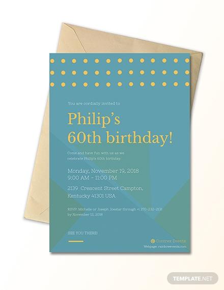 simple 60th birthday invitation card