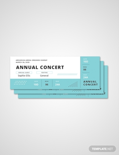 simple annual concert ticket