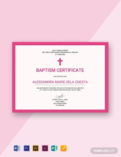 simple baptism certificate