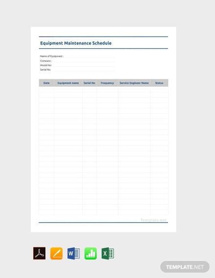 simple equipment maintenance schedule