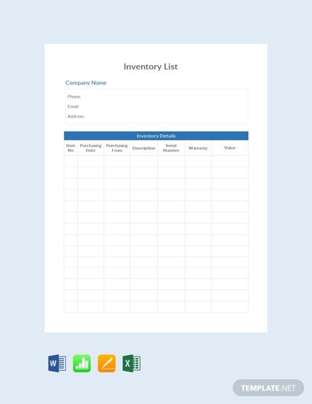 simple inventory list