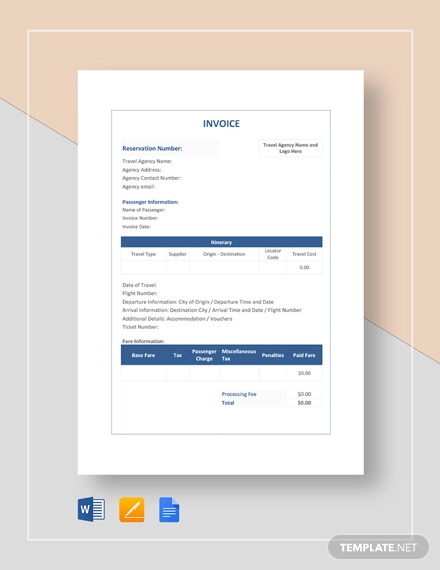 Free 11 Travel Invoice Examples Samples In Google Docs Google Sheets Excel Doc Numbers Pages Pdf Examples