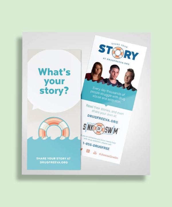 sink or swim share your story rack card