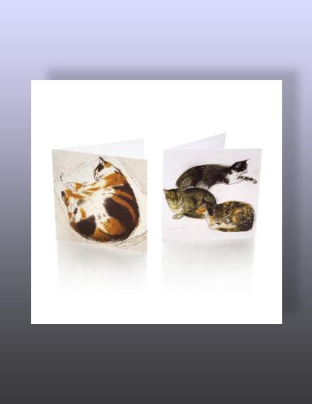 sleeping cats notecard