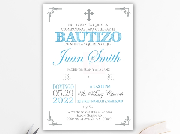 spanish boy baptism invitation