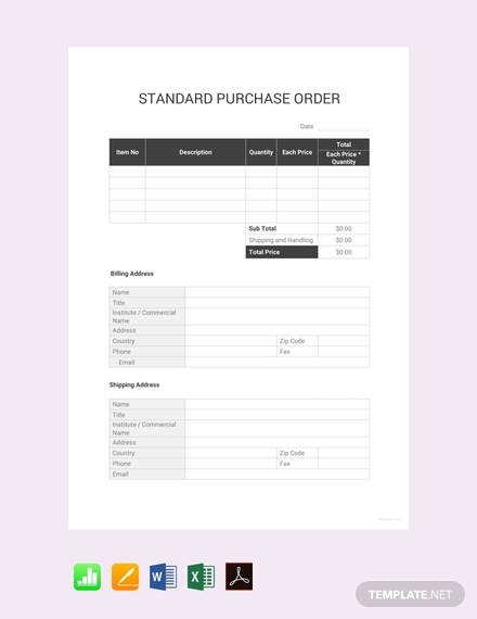 standard purchase order