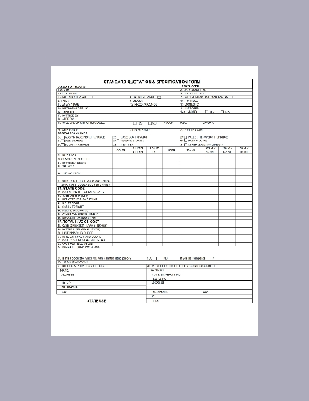 standard quotation form