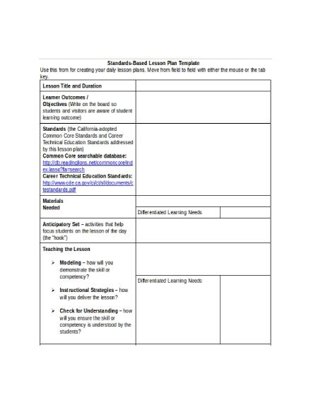 standards based lesson plan