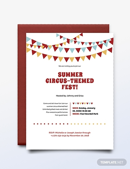 summer circus themed fest invitation