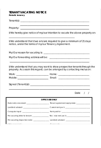 tentant vacating notice form