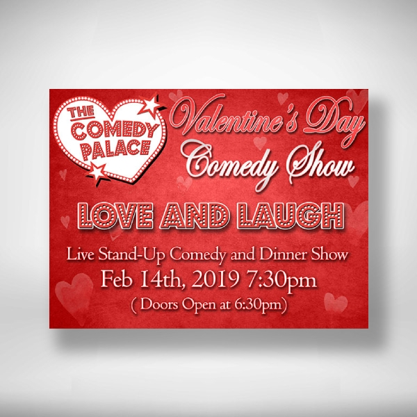 the comedy palace valentines day comedy show invitation
